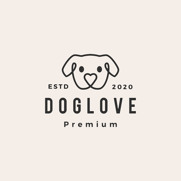 Dog love hipster vintage logo pictogram illustratie Premium Vector