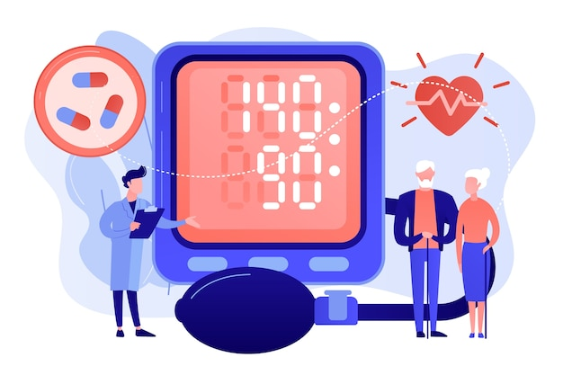Dokter, bejaarde echtpaar op tonometer hoge bloeddruk, kleine mensen. hoge bloeddruk, hypertensieziekte, bloeddrukcontroleconcept. roze koraal bluevector geïsoleerde illustratie Gratis Vector