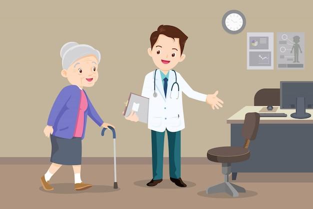 Dokter helpt grootmoeder om naar de wandelaar te gaan Premium Vector