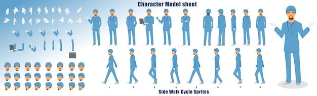 Dokter karakter modelblad met loopcyclus animatie volgorde Premium Vector