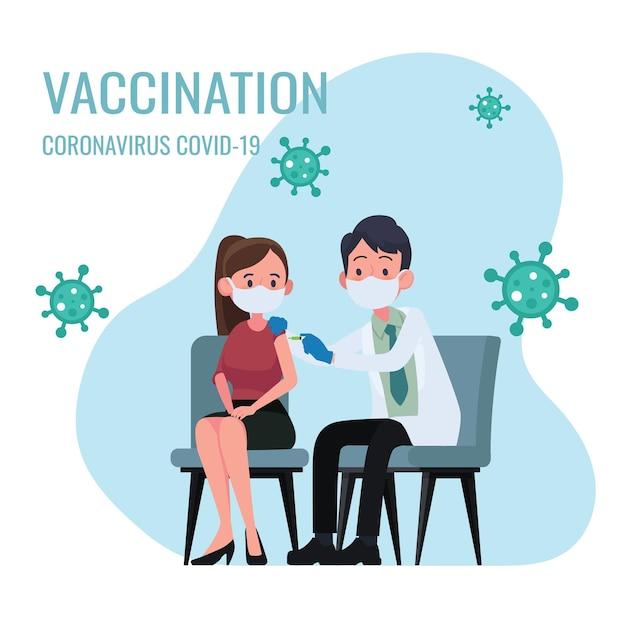 Dokter maakt een injectie van griepvaccin aan vrouwen in ziekenhuisillustratie Premium Vector
