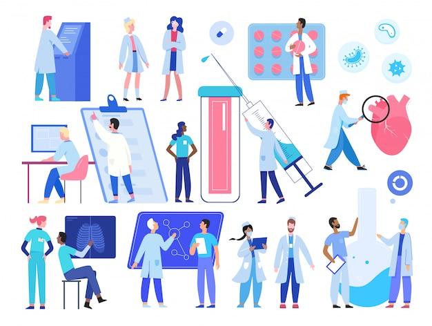 Dokter medic mensen werken illustratie set. cartoon ziekenhuispersoneel personeelskarakters werken in de kliniek, kleine onderzoeker wetenschappers die onderzoek doen in de collectie van het laboratorium van de wetenschappelijke geneeskunde Premium Vector