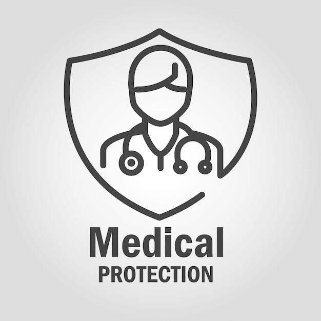 Dokter medische bescherming logo met avatar en schild Premium Vector