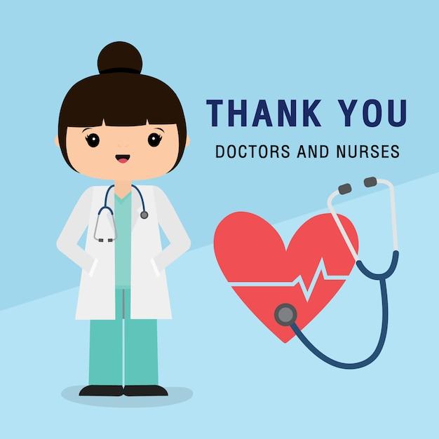 Dokter stripfiguur. dank u artsen en verpleegkundigen die in het ziekenhuis werken en het coronavirus bestrijden, covid-19 wuhan virus disease vector illustration. Premium Vector