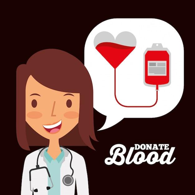 Dokter tekstballon en hart bloedzak donatie Premium Vector