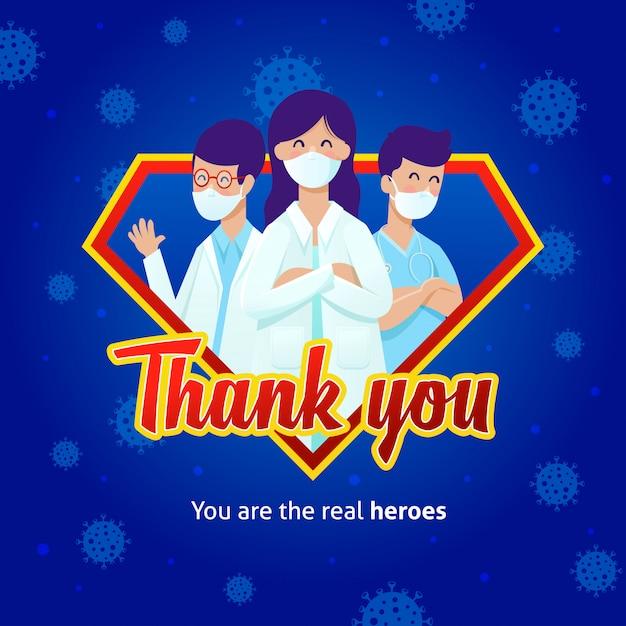 Dokters dragen maskers op een superheldenlogo met een dankboodschap voor hun strijd tegen covid-19. Premium Vector