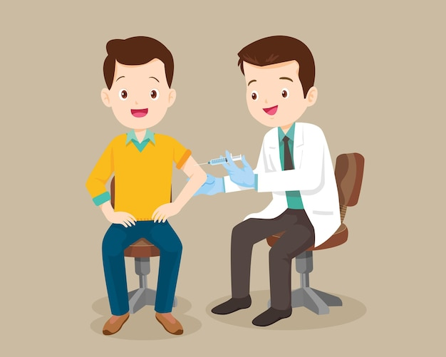 Doktersinjectievaccin voor de mens Premium Vector
