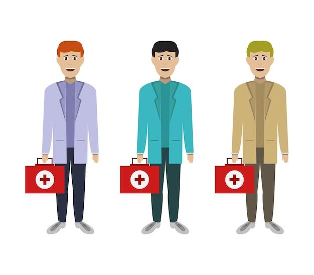 Dokterspersonages met urgentie koffer Gratis Vector
