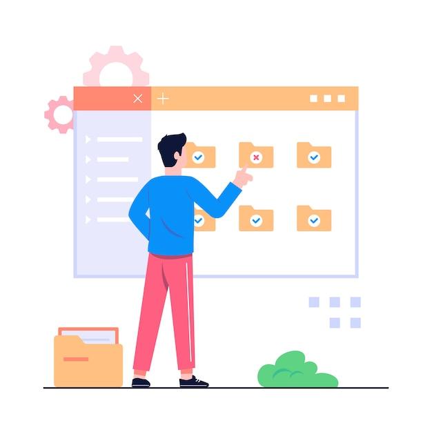 Dokument management concept illustratie Premium Vector