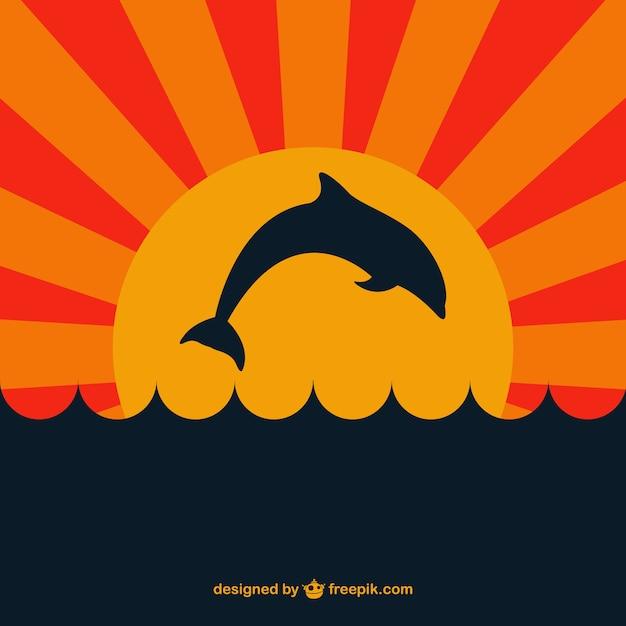 Dolfijn in sunsent vector Gratis Vector