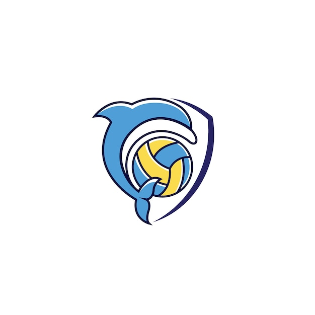 Dolfijn schild logo ontwerp vector download Premium Vector
