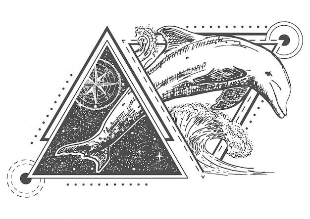 Dolfijn tattoo kunststijl Premium Vector