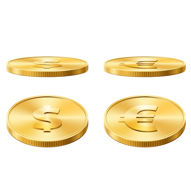 Dollar en euro munten vectorillustratie Premium Vector