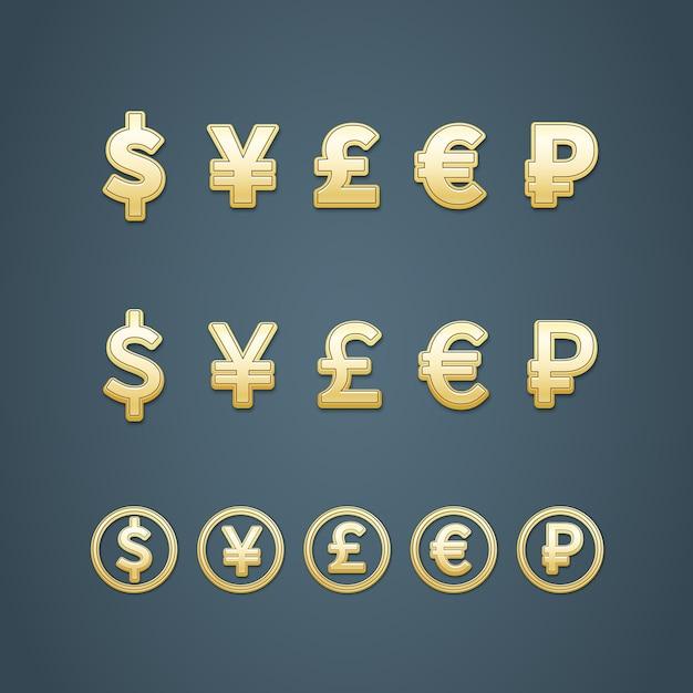 Dollar euro pond yen en roebel iconen vector illustratie Gratis Vector