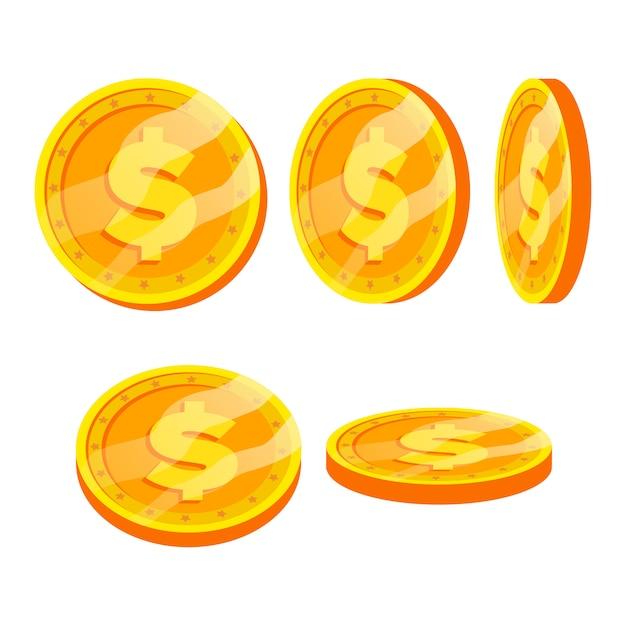 Dollar gouden munten teken Premium Vector