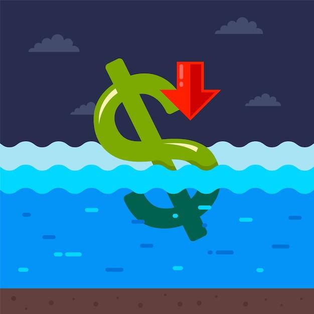 Dollar verdrinkt in water. de economische crisis in de vs als gevolg van de coronavirus-pandemie. Premium Vector