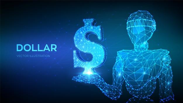 Dollar. verenigde staten dollarteken. abstracte 3d lage veelhoekige robot met dollar-pictogram. Premium Vector