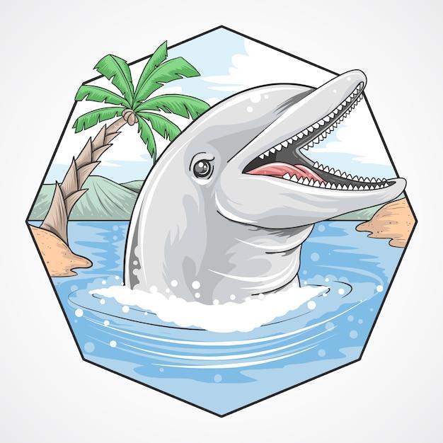 Dolphin zomerstrand kokosnoot vector Premium Vector