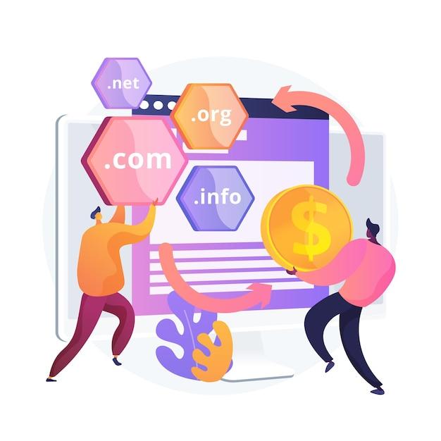 Domein flipping abstract concept illustratie. domein wijzigen, tussen domeinen wisselen, internetbedrijf, naam kopen tegen hoge prijs, website registreren, webhosting Gratis Vector