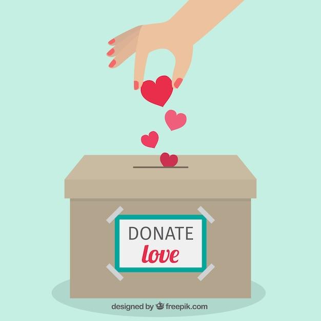 Donatie doos flat achtergrond Gratis Vector