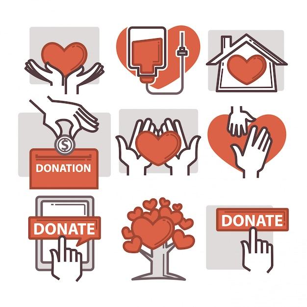Donatie en vrijwilligerswerk iconen Premium Vector