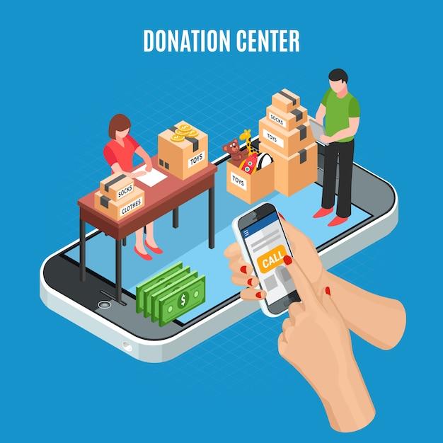 Donatiecentrum isometrisch met mobiele app voor oproep en medewerkers die kartonnen dozen van charitatieve artikelen vectorillustratie sorteren Gratis Vector