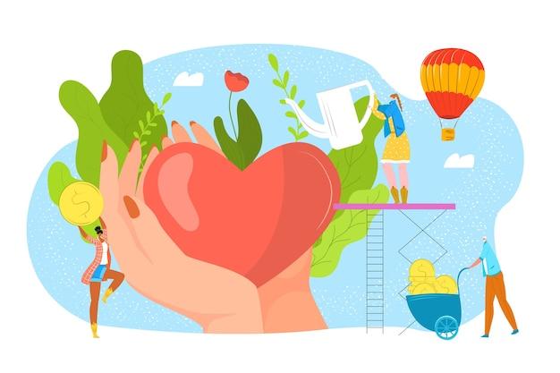 Doneer bloed, liefdadigheid, filantrofieconcept voor donordag, help en red levensillustratie. hart in liefdevolle handen, donatie en geld, maatschappelijke ondersteuning. vrijwilligerswerk en bloedtransfusie. Premium Vector