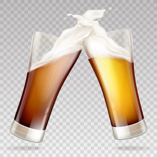 Donker bier in transparante glazen Gratis Vector
