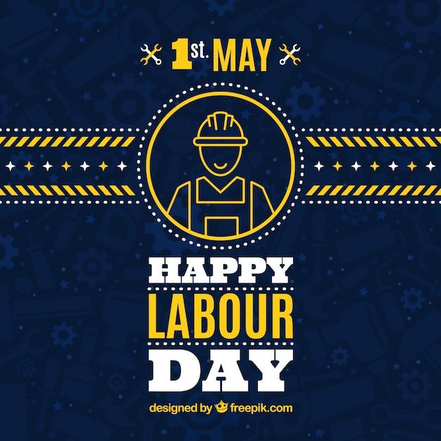 Donker blauwe achtergrond met gele details voor de dag werknemer Gratis Vector
