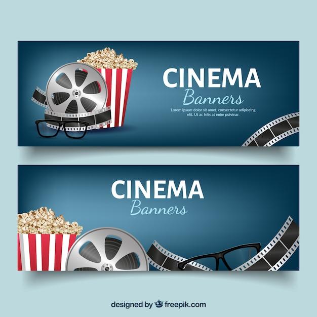 Donker blauwe banners met bioscoop objecten Gratis Vector