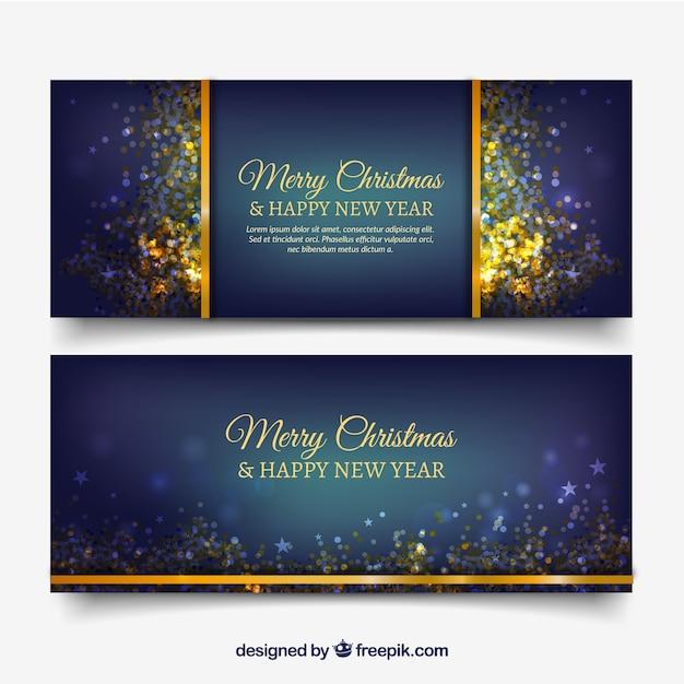 Donker blauwe banners met gouden confetti Gratis Vector