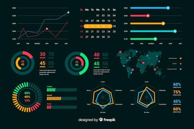 Donker dashboard met grafieken ontwikkeling Gratis Vector