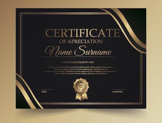 Donker diploma certificaat creatief ontwerp met award symbool Premium Vector
