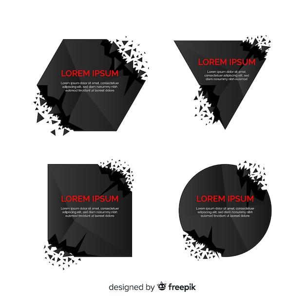 Donker explosiebannerpakket Gratis Vector