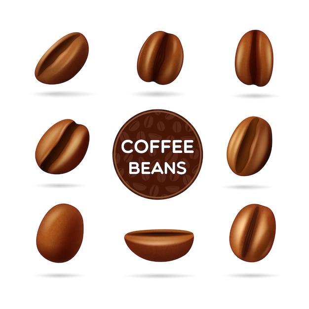 Donker gebrande koffiebonen in verschillende posities en rond etiket Gratis Vector