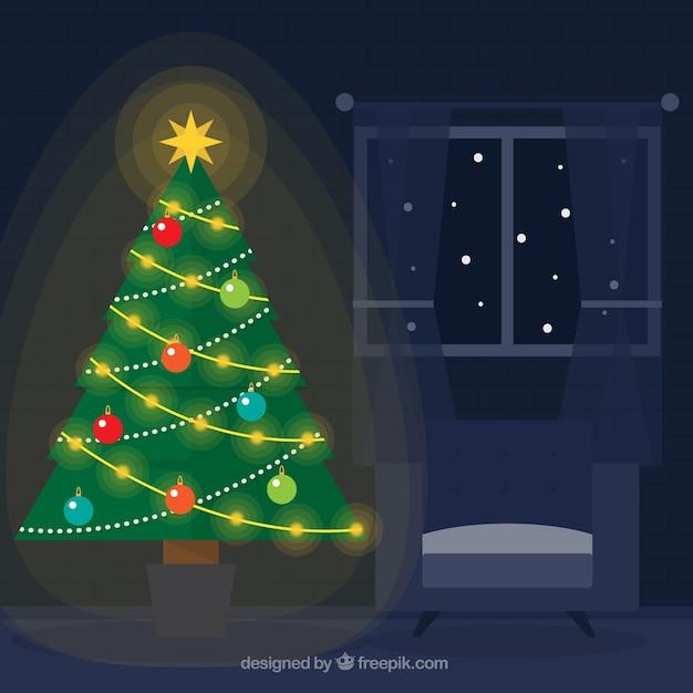 Donker huis achtergrond met Verlichte kerstboom Vector | Gratis Download
