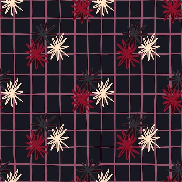 Donker naadloos krabbelpatroon met witte, rode en zwarte madeliefje geometrische silhouetten. gestileerde eenvoudige print met geruite achtergrond. Premium Vector