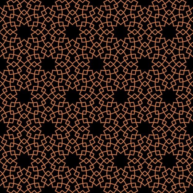 Donker naadloos patroon met gestileerde geometrische bloemen in oosterse stijl Premium Vector