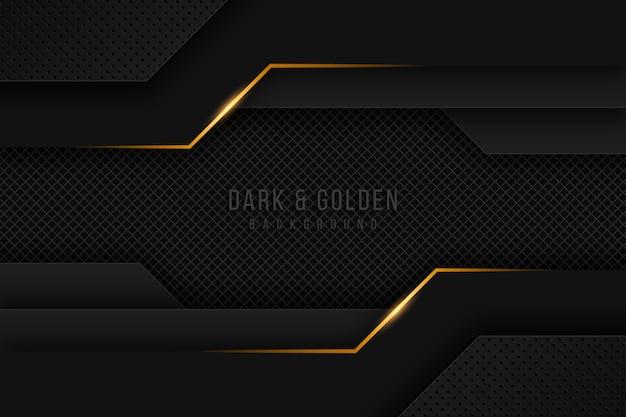Donker papierlagen behang met gouden details Premium Vector