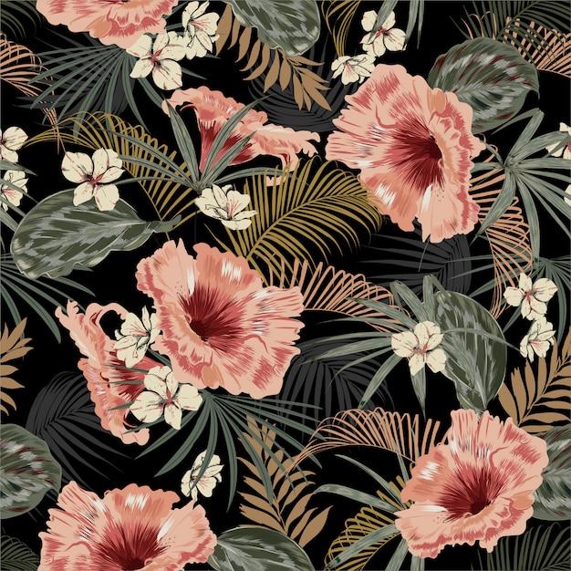 Donker tropisch bos bij nacht naadloze patroon wallpaper vintage stemming bladeren van palmbomen Premium Vector