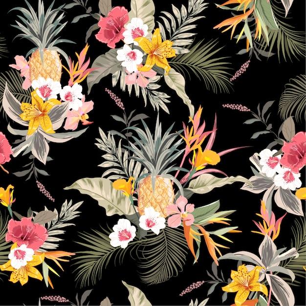 Donker tropisch bos exotisch kleurrijk zwart naadloos vectorpatroon als achtergrond Premium Vector