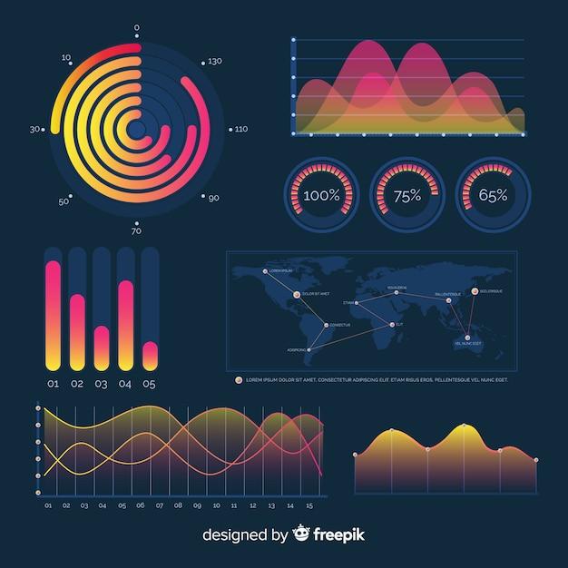 Donker verloop infographic elementen dashboard Gratis Vector