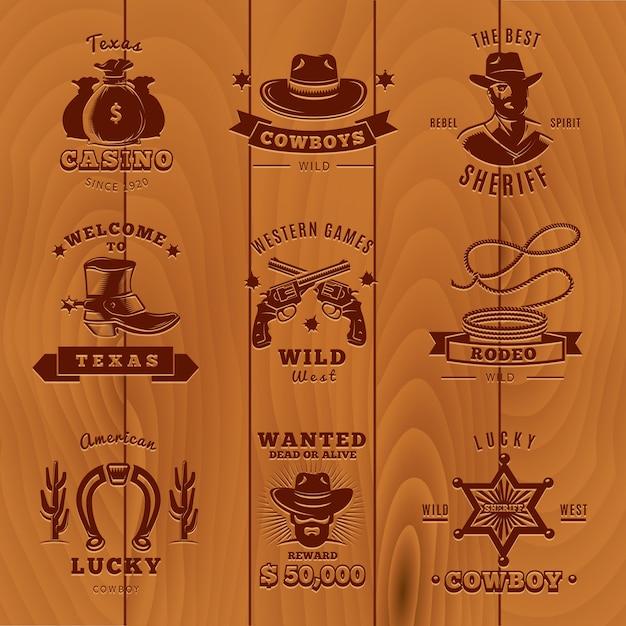 Donker vintage sheriff-logo bezet met cowboys en sheriff-beschrijvingen Gratis Vector