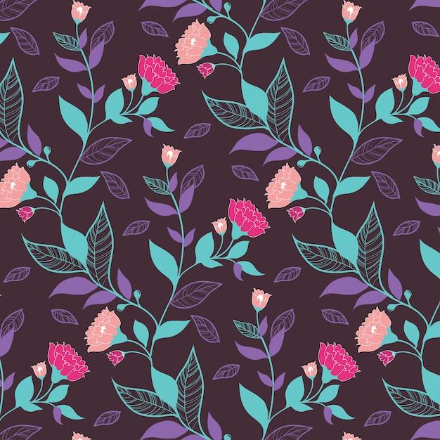 Donker violet bloemmotief met bladeren en roze bloemen voor inpakpapier Premium Vector