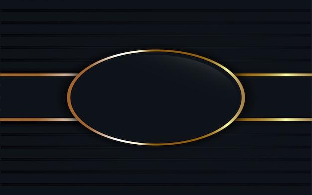 Donkerblauw glas label op ovale gouden frame achtergrond. Premium Vector