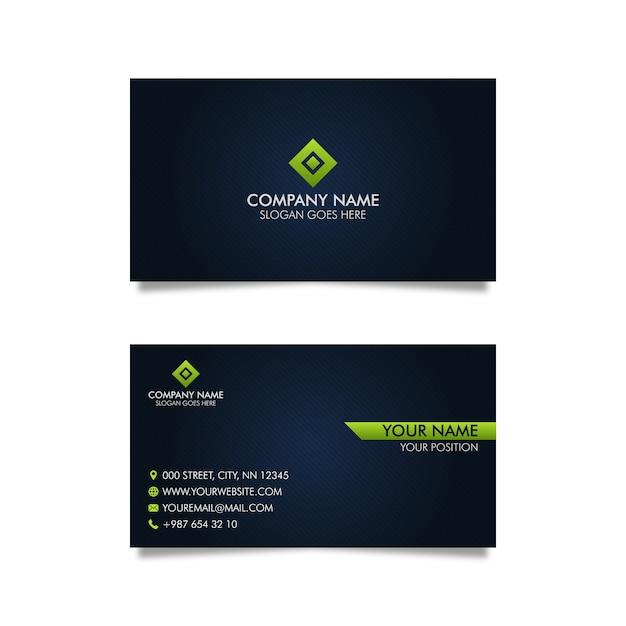 Donkerblauw visitekaartje Premium Vector