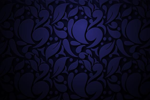 Donkerblauwe abstracte sierbloemenachtergrond Gratis Vector
