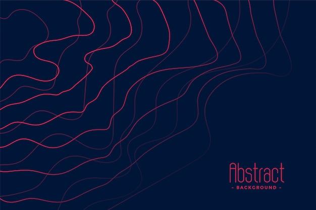 Donkerblauwe achtergrond met abstracte roze lijnen Gratis Vector