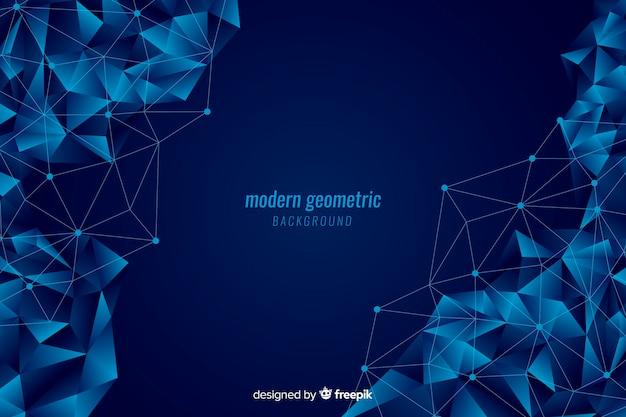 Donkerblauwe geometrische vormenachtergrond Gratis Vector