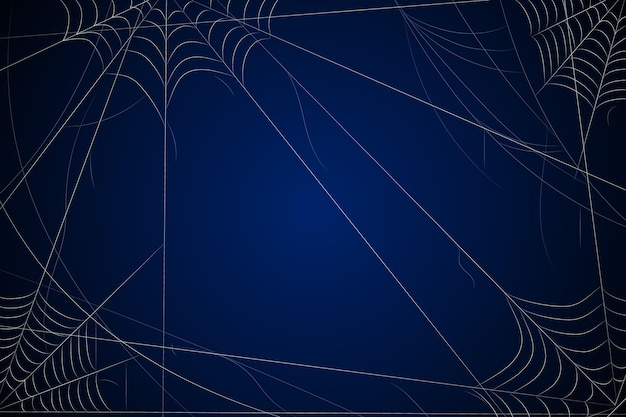 Donkerblauwe halloween-achtergrond met spinneweb Gratis Vector